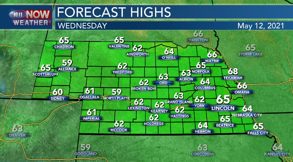 High temperatures will remain below the average Wednesday afternoon.