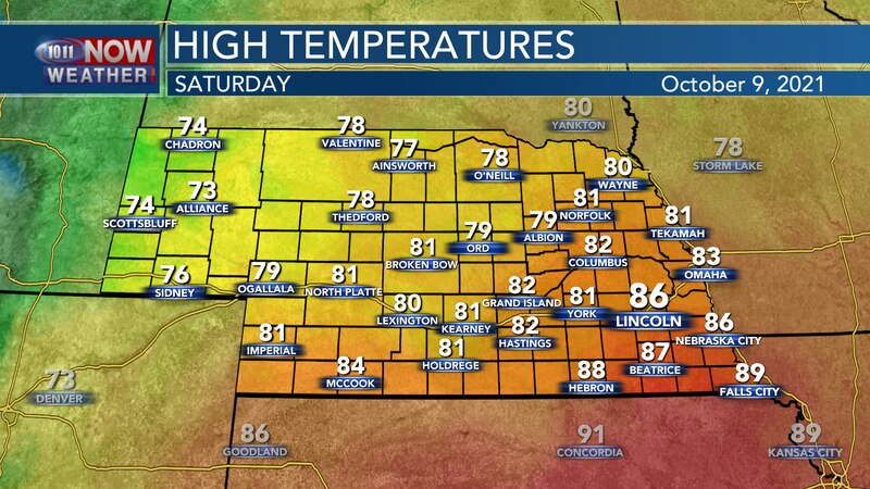 Temperatures will have quite a spread on Saturday with highs in the mid 70s in the far west to...