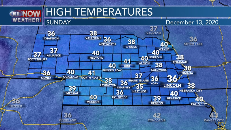 Chilly December temperatures in the 30s and low 40s are expected for Sunday.