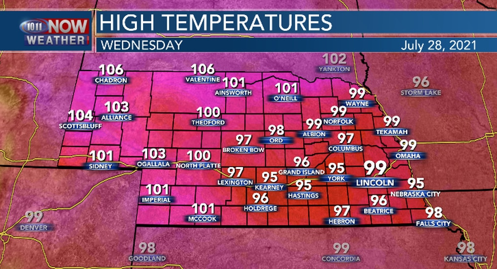 Hot and humid conditions continue on Wednesday across Nebraska.
