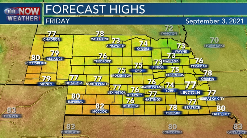 Highs temperatures will be below average on Friday but, it will still be muggy.
