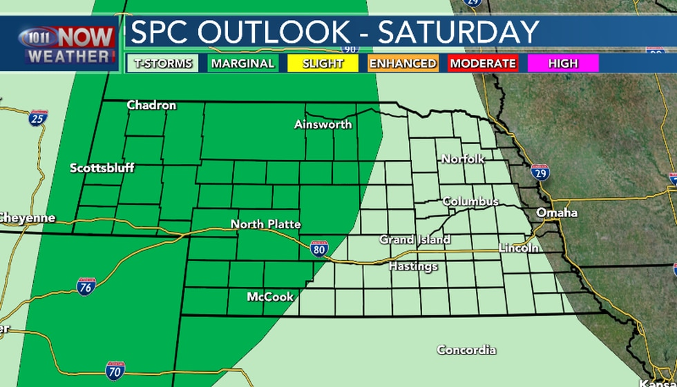 Isolated severe thunderstorms are possible for the western third to half of the area Saturday....