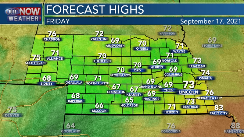 Much cooler Friday afternoon.