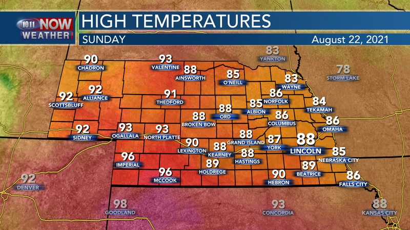 Afternoon temperatures on Sunday will climb back to the upper 80s to mid 90s across the state.