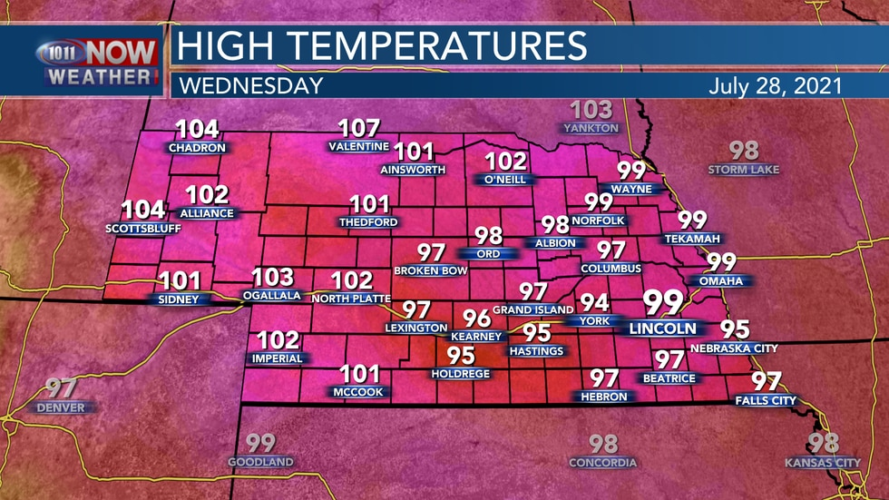 Temperatures will be well into the 90s and 100s on Wednesday.