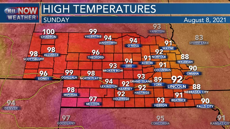 Hot and muggy conditions return on Sunday.