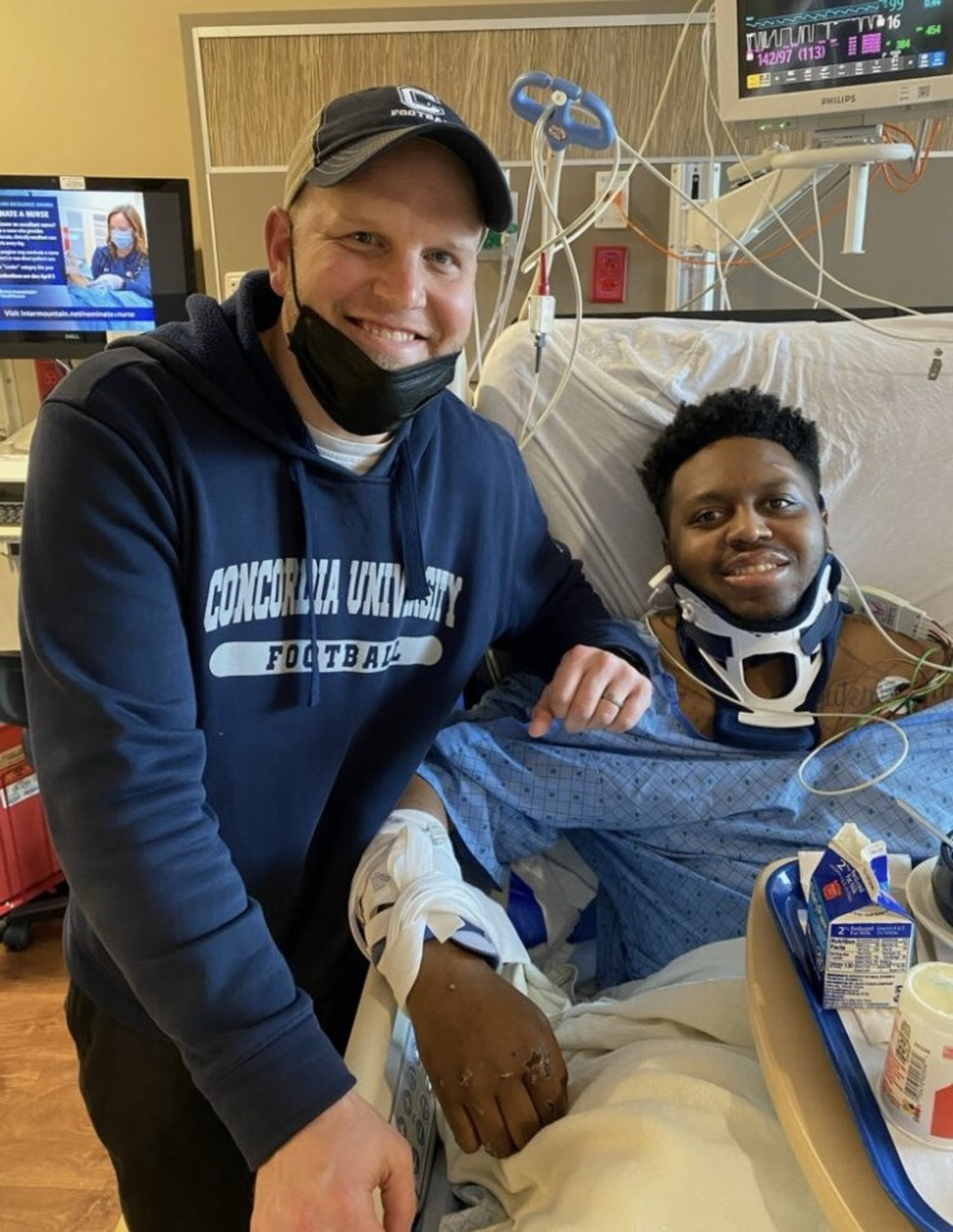 Coach Patrick Daberkow with senior Gerald Morris after an accident in March.