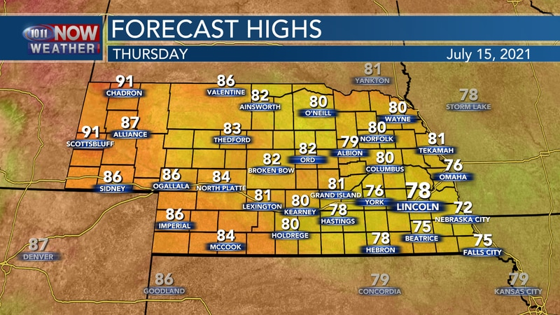 Temperatures will range from the low 70s to the low 90s on Thursday.