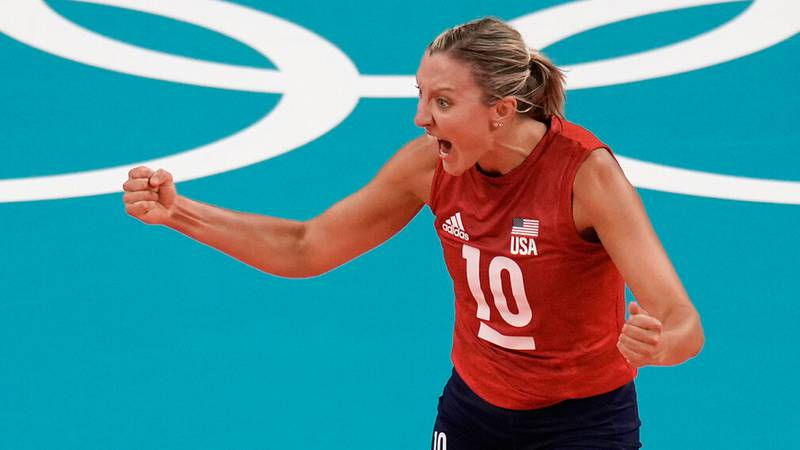 Jordan Larson celebrates a point in USA's victory over Turkey at the 2021 Olympics. (AP)