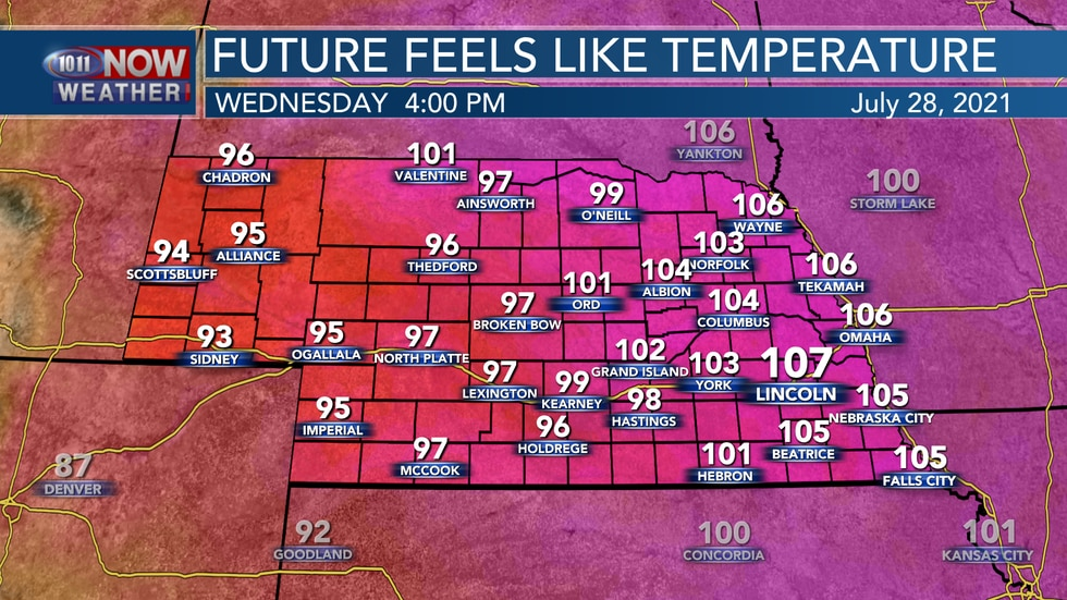 Heat index values on Wednesday could range between 100° and 110° through the afternoon.