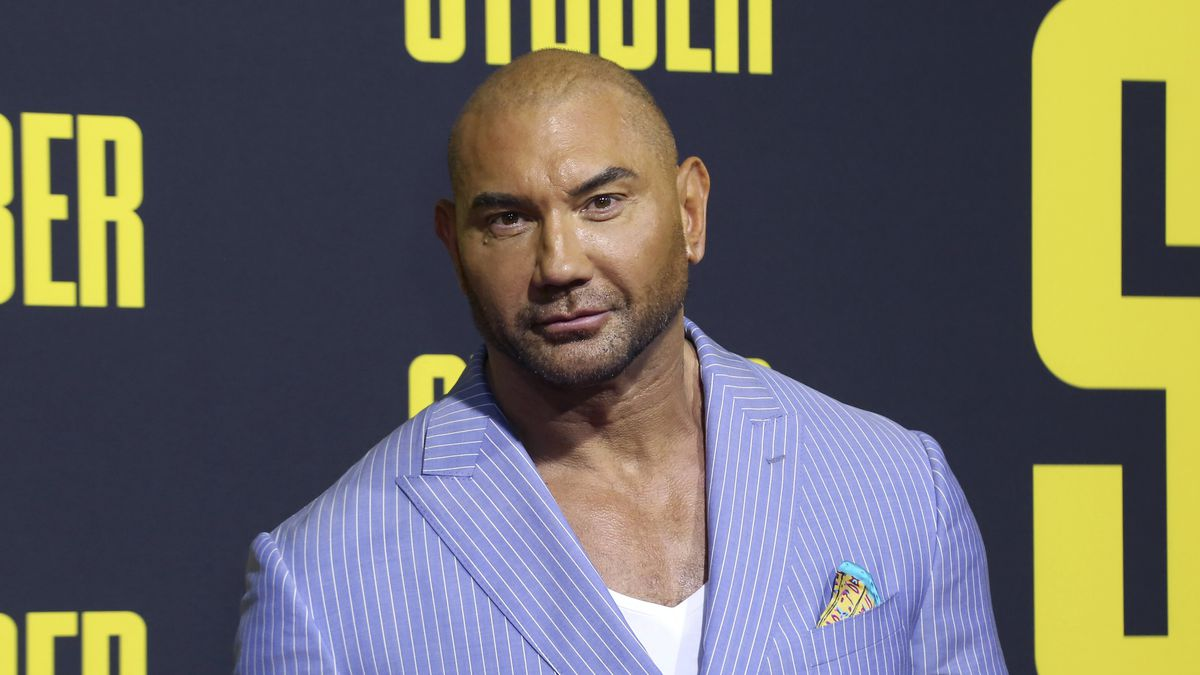 """FILE - In this July 10, 2019 file photo, Dave Bautista attends the LA Premiere of """"Stuber"""" at..."""