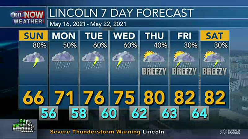 Showers and storms expected through the day on Sunday.