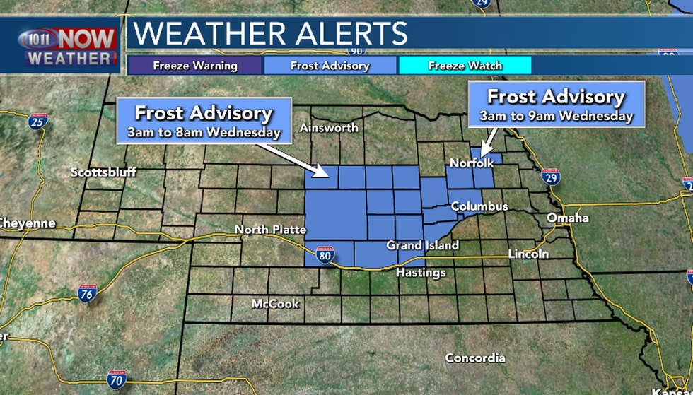 A Frost Advisory is in effect for part of the area late tonight into early Wednesday morning.
