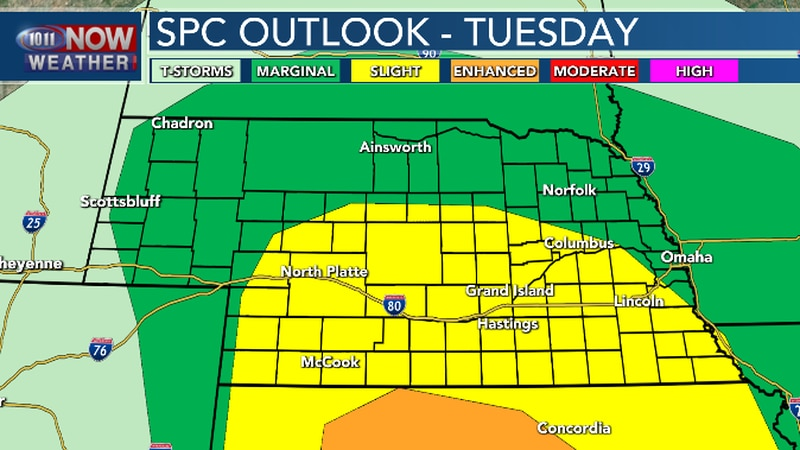 Severe thunderstorms could develop late this afternoon in western Nebraska and move east...