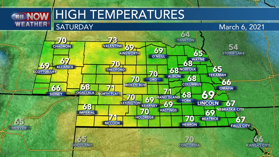 Temperatures will remain well above average on Saturday with highs in the upper 60s to low 70s.