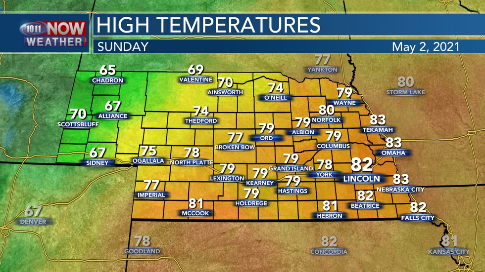 Cooler temperatures are forecast for Sunday with highs in the 70s and 80s for most of the state.