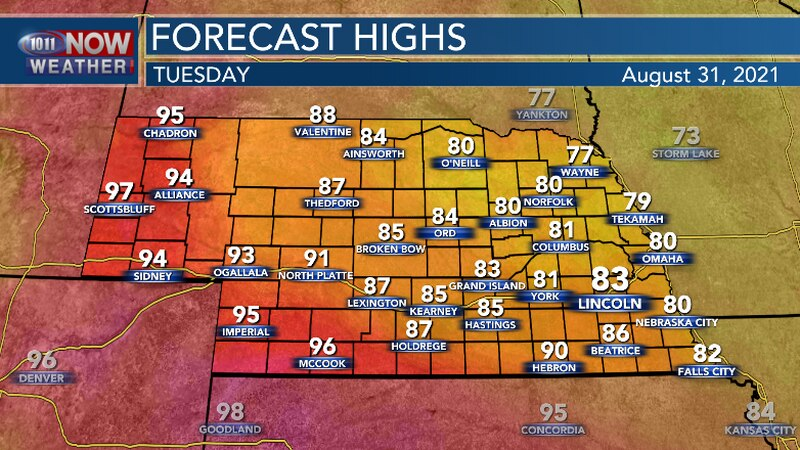 It will be hot in far southern and western Nebraska. Warm and humid for central and eastern...