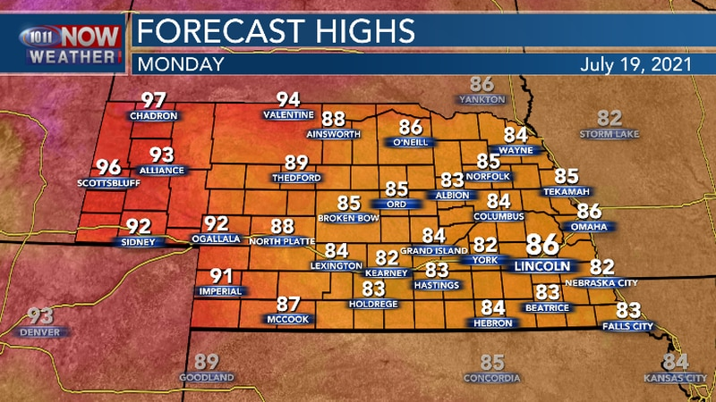 Mainly below average temperatures expected for much of the area today.
