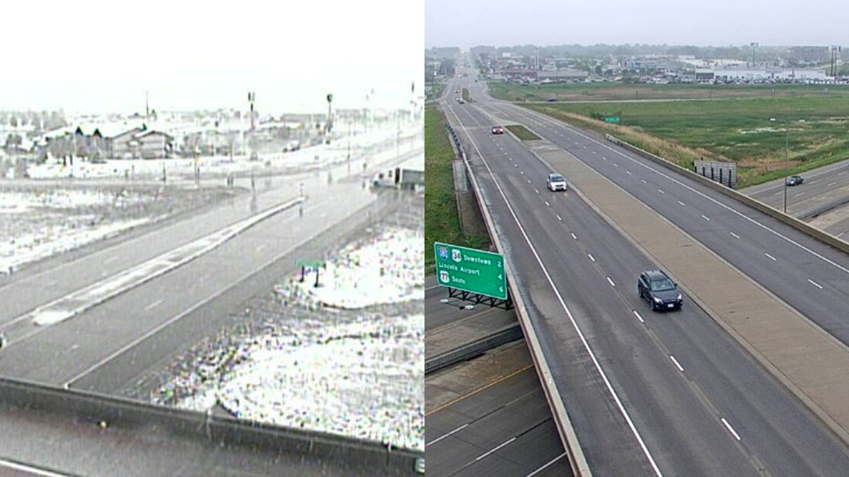 I-80 Sidney exit as the Nebraska Panhandle is hit by snow (Left) and  Lincoln 1-80 exit to 27th Street (Right). (Source: Nebraska 511)