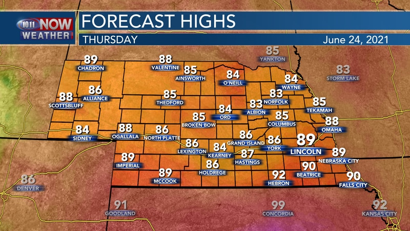 Temperatures should reach into the 80s to near 90° by Thursday afternoon.