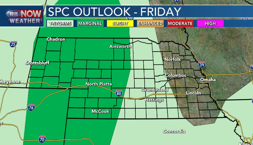 Isolated severe thunderstorms are possible in Central and Western Nebraska as well as the...