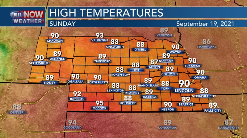 Look for highs to stay in the upper 80s to low 90s on Sunday.