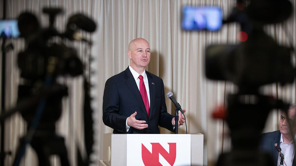 Nebraska Governor Pete Ricketts at the podium during a press conference following the release...