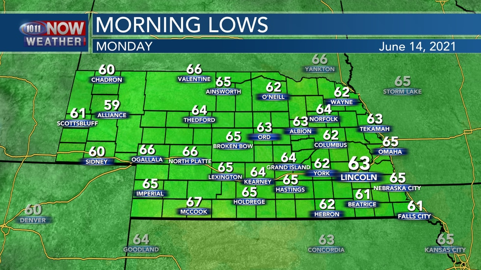 Temperatures will be a bit warmer into Monday morning with lows in the low to mid 60s.