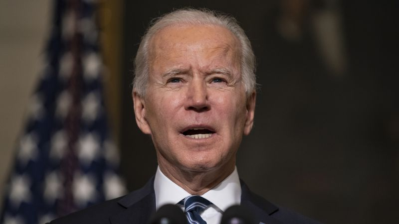 FILE - In this Wednesday, Jan. 27, 2021 file photo, President Joe Biden speaks in the State...