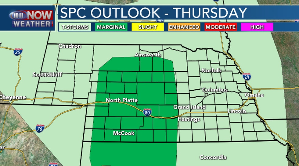 Isolated severe weather is possible Thursday afternoon and evening in parts of central and...