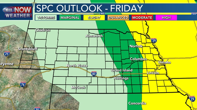 Scattered severe thunderstorms possible Friday afternoon and evening.