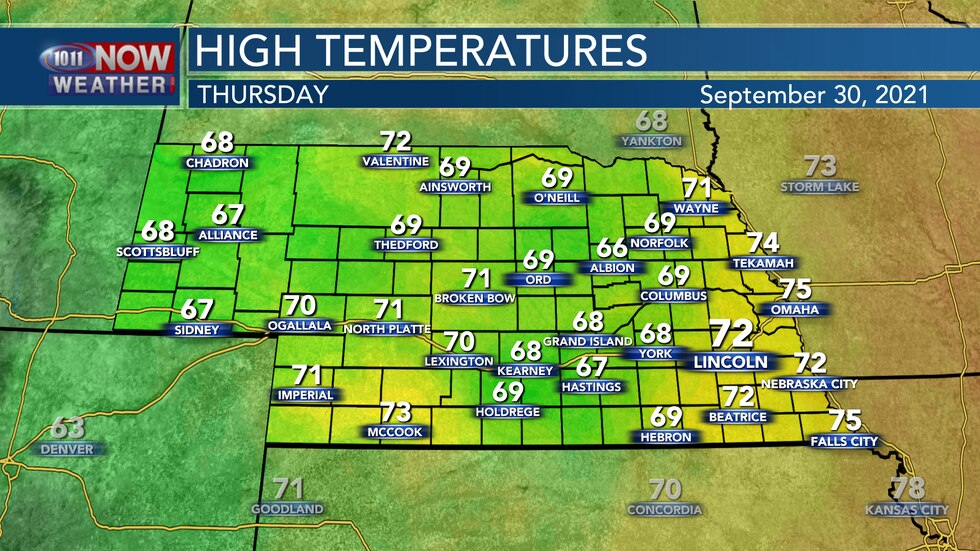 Temperatures will settle into the upper 60s to low 70s on Thursday with mostly cloudy skies and...