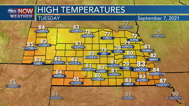 Look for highs in the upper 70s to low 80s on Tuesday.