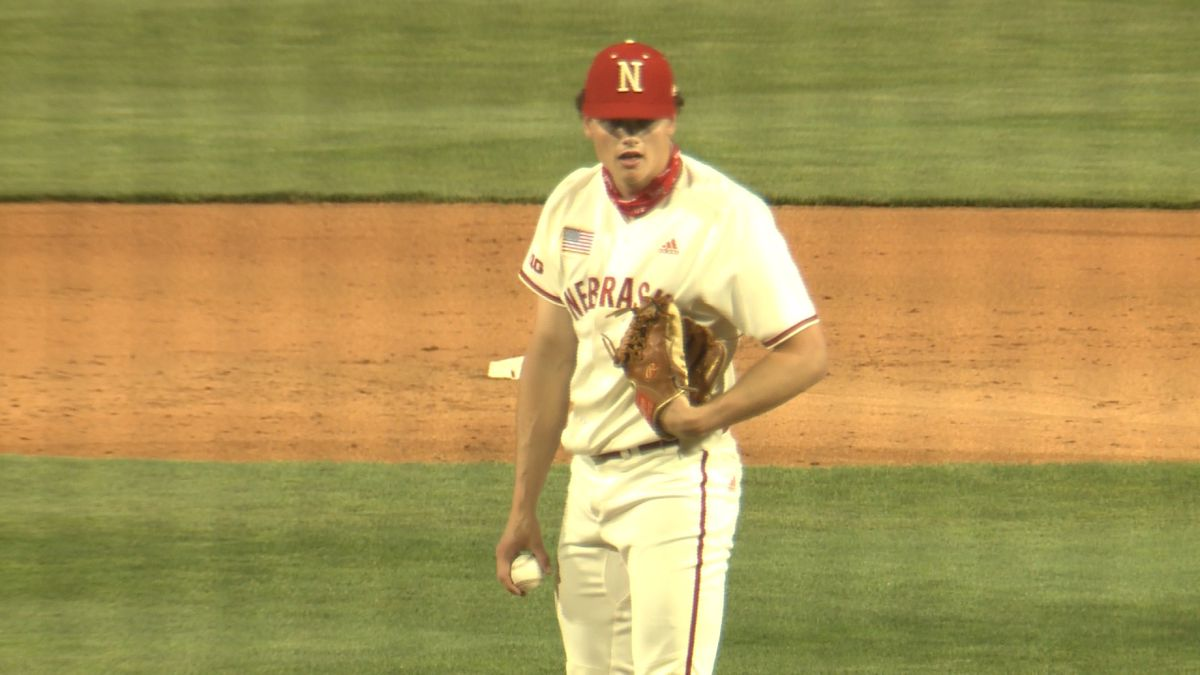 Nebraska relief pitcher Cam Wynne stands on the mound during the Huskers' game against Rutgers.
