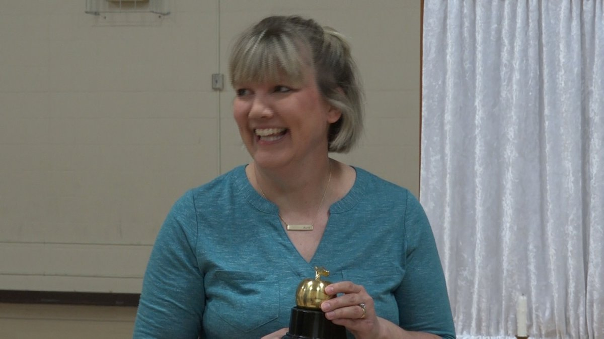Stacy Leimbach of Trinity Lutheran wins May 2019 10/11 Golden Apple Award.