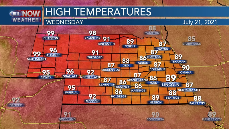 Temperatures will try and creep a few degrees higher on Wednesday with highs in the upper 80s...