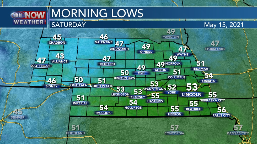 Temperatures should be comfortably in the upper 40s to low 50s into Saturday morning.