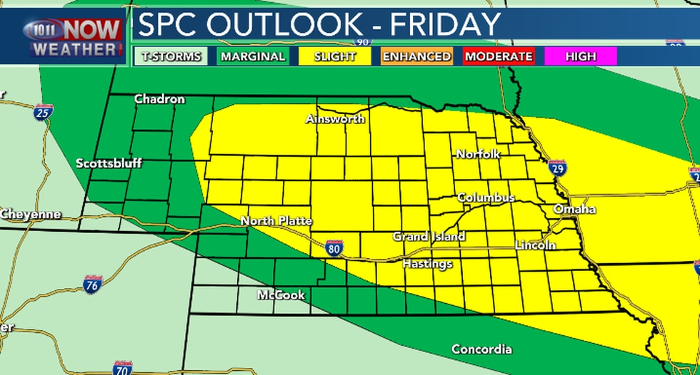 Scattered severe thunderstorms will be possible late on Friday. Large hail and damaging winds...