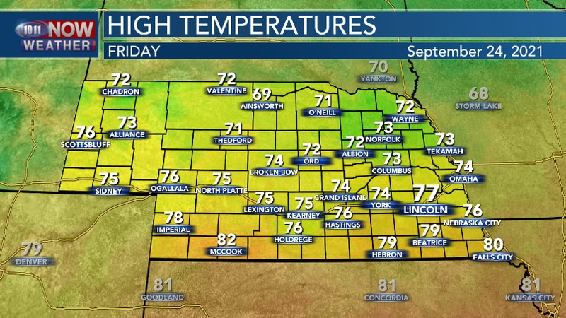 Cooler Friday with high temperatures mainly at or below average for late September.