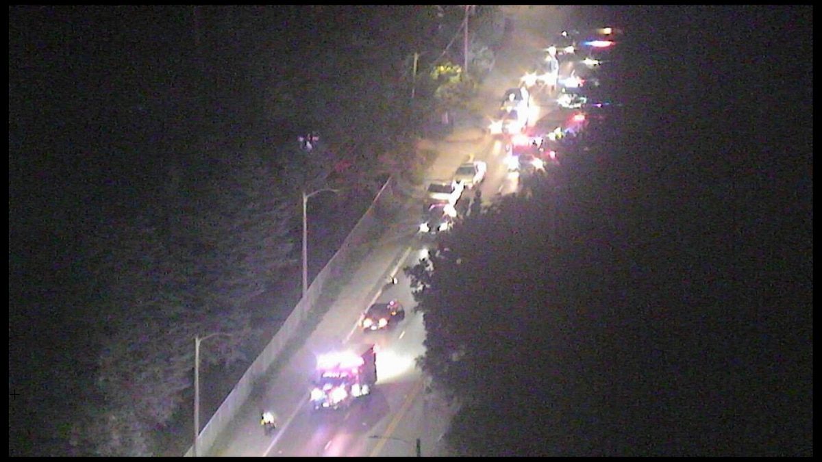 LPD & LFR at the scene of a crash at 36th & Vine Monday night, as seen from 10/11 NOW's Skyview...