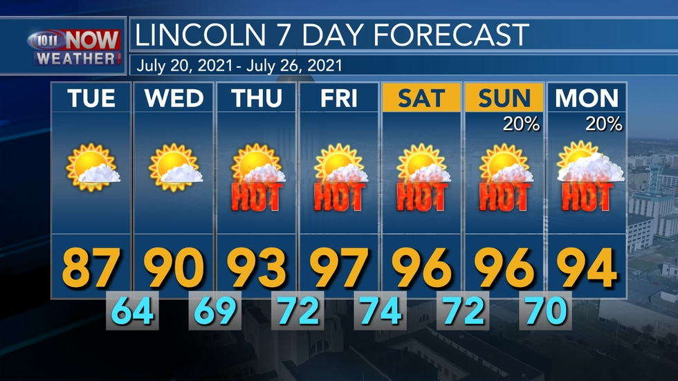 Hot and dry weather is expected through much of this week with some low-end rain chances...