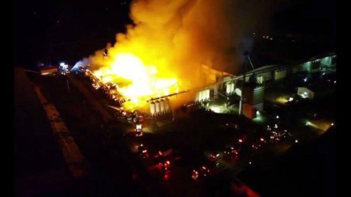 A massive blaze broke out at the Michael Foods egg farm near Bloomfield, NE