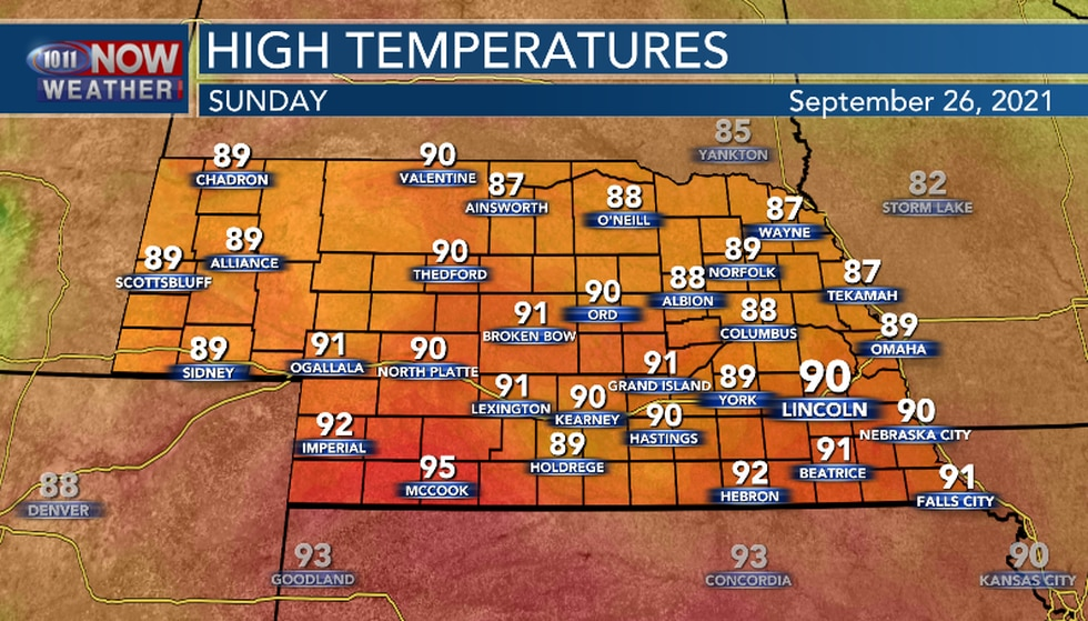 Sunday's high temperatures will be well above average for this time of the year.