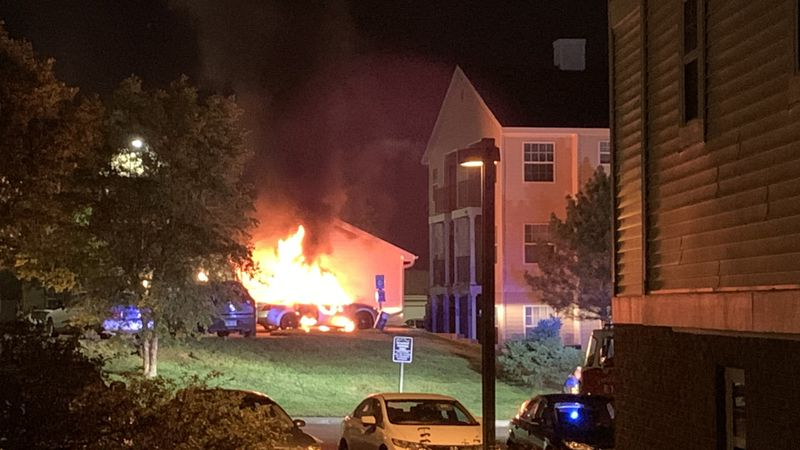 Vehicle fire from fireworks at Waterbrook Apartments