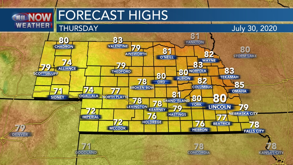 Cooler temperatures are expected again on Thursday with highs in the 70s and low 80s for most...