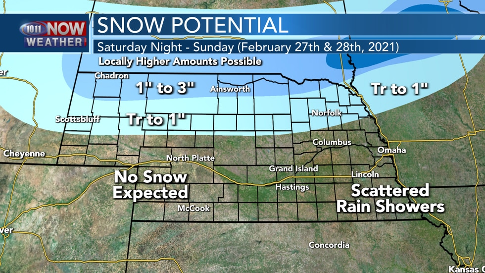 Areas of snow are expected across northern Nebraska Saturday evening into early Sunday.