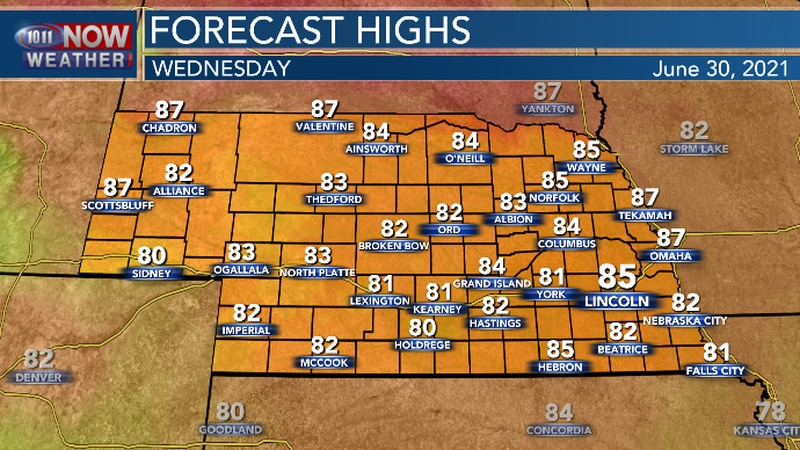High temperatures will continue to near or a bit below average for late June.
