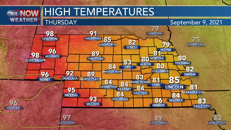 Central and Eastern Nebraska will have temperatures similar to Wednesday while the western...