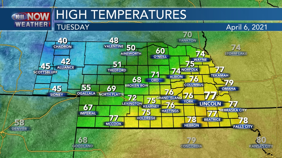A cold front pushing through the state will lead to a wide range of temperatures on Tuesday...