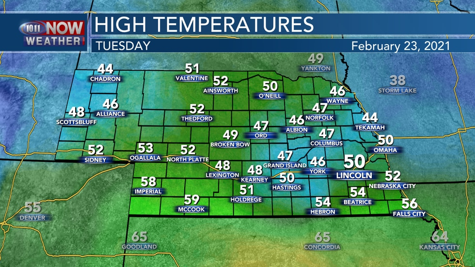 Temperatures should reach the mid 40s to mid 50s on Tuesday.